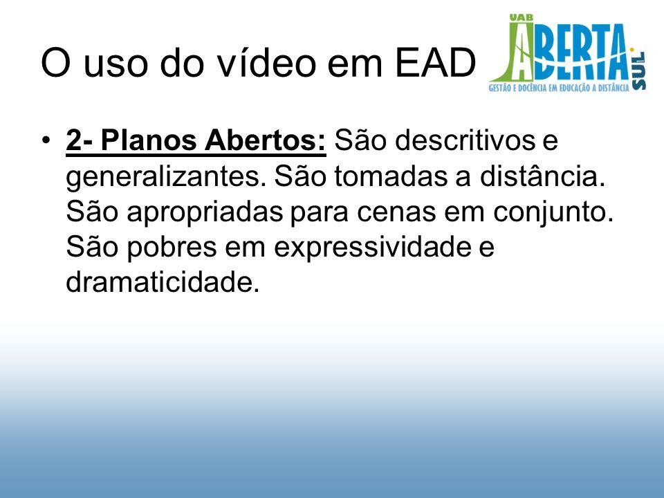 O uso do vídeo em EAD 2- Planos Abertos: São descritivos e generalizantes.