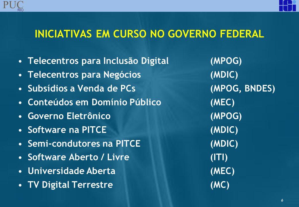 6 PUC RIO INICIATIVAS EM CURSO NO GOVERNO FEDERAL Telecentros para Inclusão Digital(MPOG) Telecentros para Negócios(MDIC) Subsídios a Venda de PCs(MPO