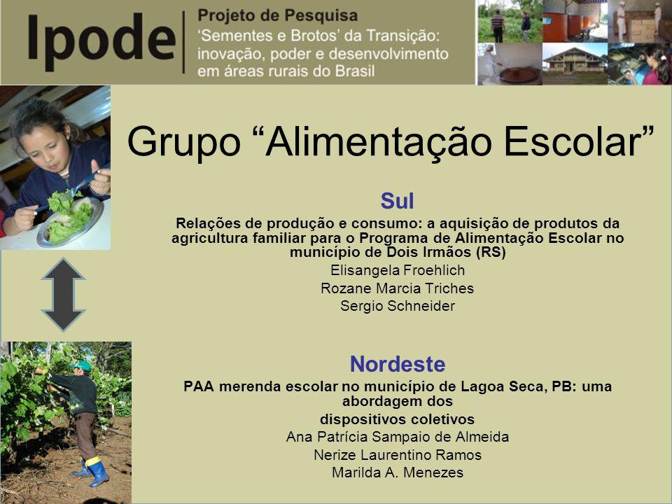 Grupo Alimentação Escolar Sul Relações de produção e consumo: a aquisição de produtos da agricultura familiar para o Programa de Alimentação Escolar n
