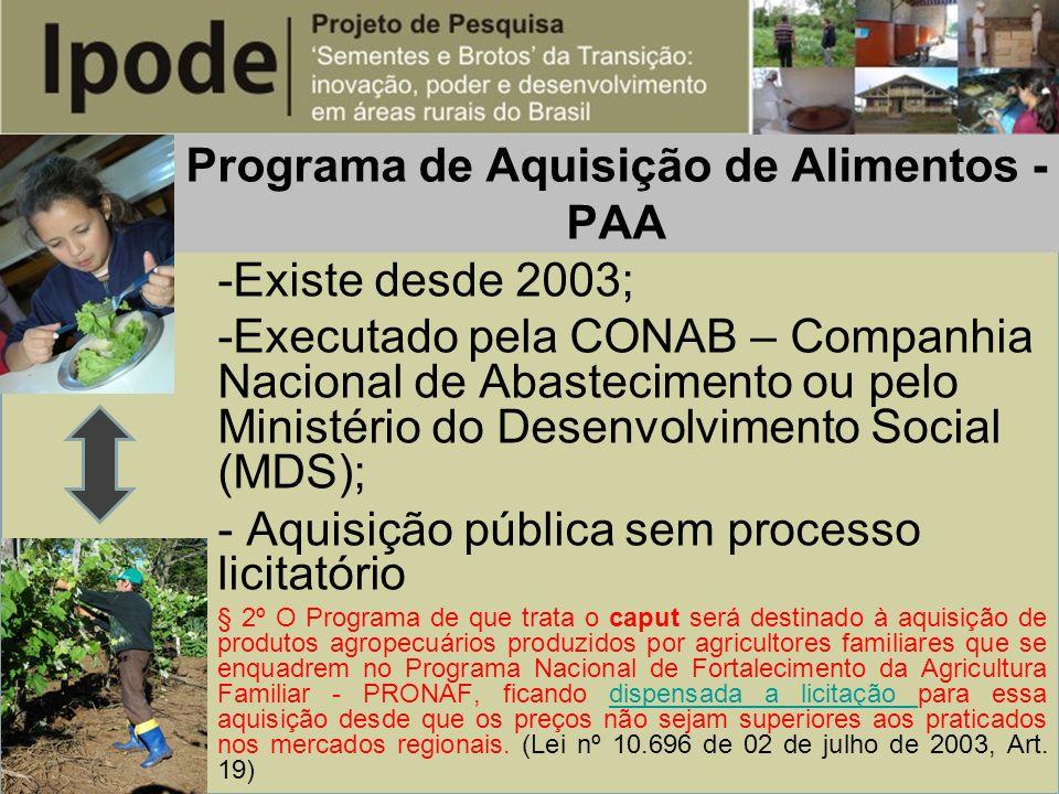 Programa de Aquisição de Alimentos - PAA -Existe desde 2003; -Executado pela CONAB – Companhia Nacional de Abastecimento ou pelo Ministério do Desenvo