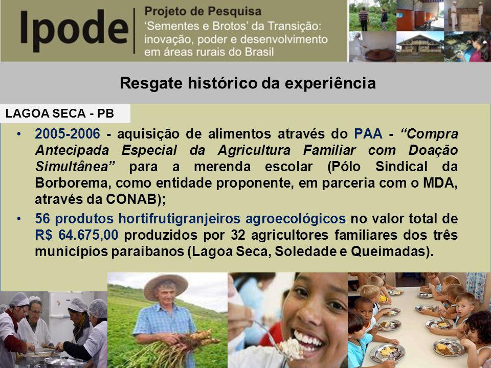 Resgate histórico da experiência LAGOA SECA - PB 2005-2006 - aquisição de alimentos através do PAA - Compra Antecipada Especial da Agricultura Familia