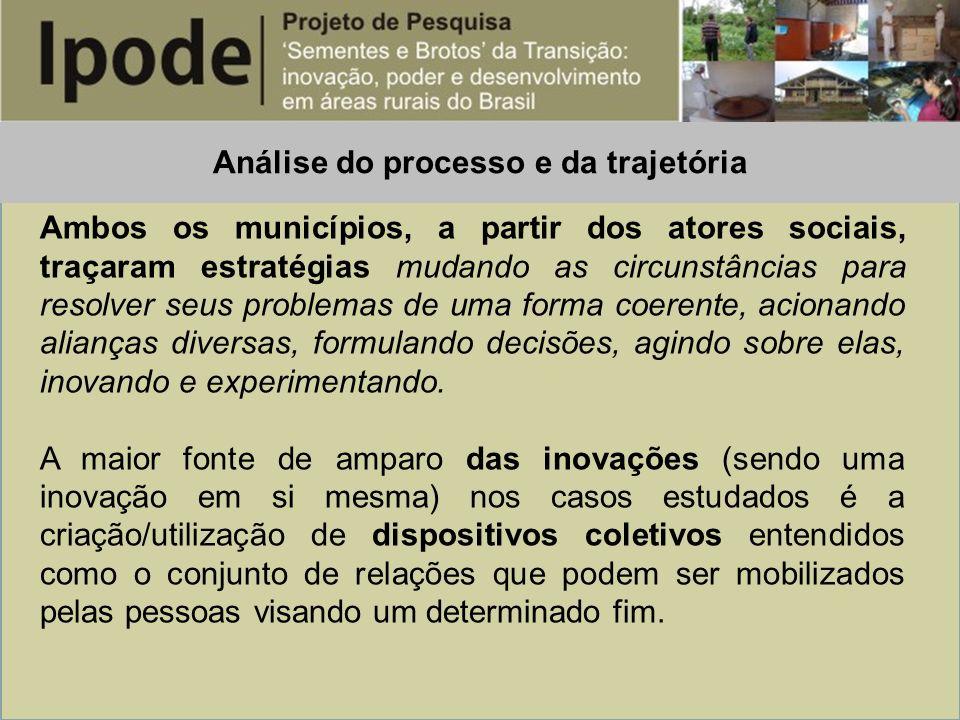 Análise do processo e da trajetória Ambos os municípios, a partir dos atores sociais, traçaram estratégias mudando as circunstâncias para resolver seu