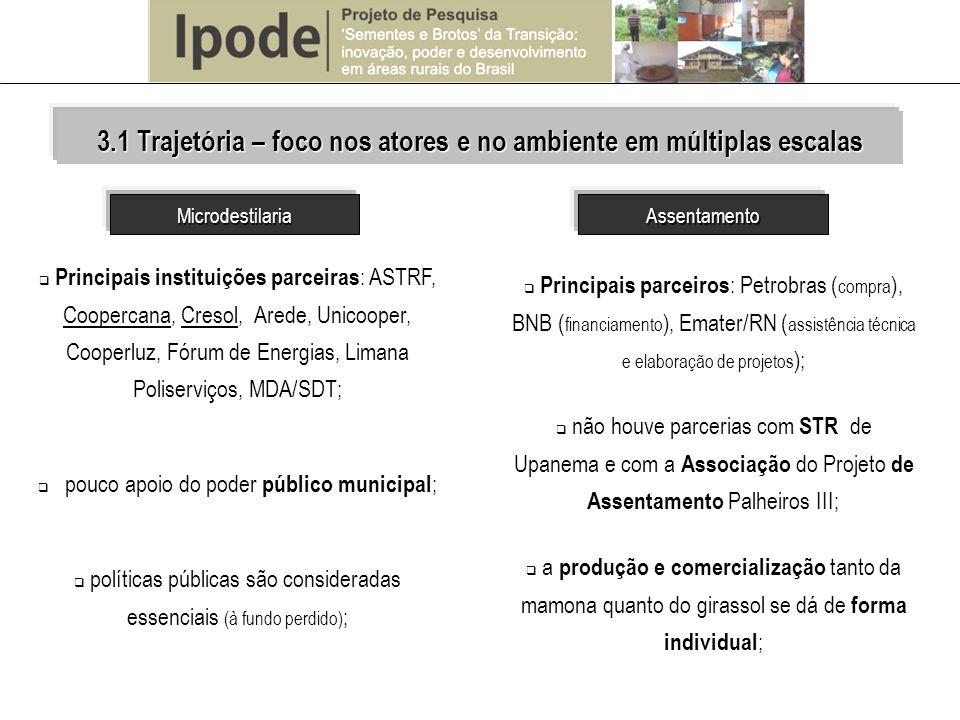 Principais instituições parceiras : ASTRF, Coopercana, Cresol, Arede, Unicooper, Cooperluz, Fórum de Energias, Limana Poliserviços, MDA/SDT; pouco apo