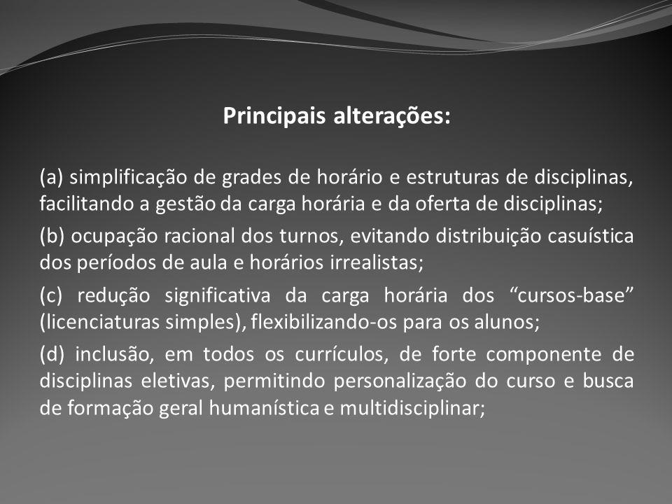 Principais alterações: (a) simplificação de grades de horário e estruturas de disciplinas, facilitando a gestão da carga horária e da oferta de discip