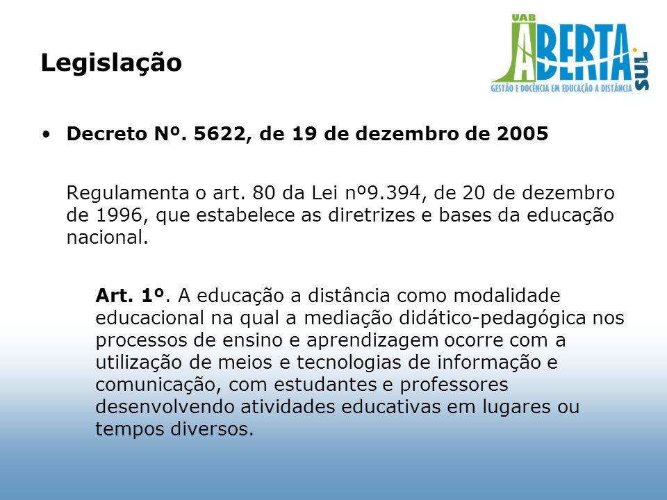 Legislação Decreto Nº. 5622, de 19 de dezembro de 2005 Regulamenta o art. 80 da Lei nº9.394, de 20 de dezembro de 1996, que estabelece as diretrizes e