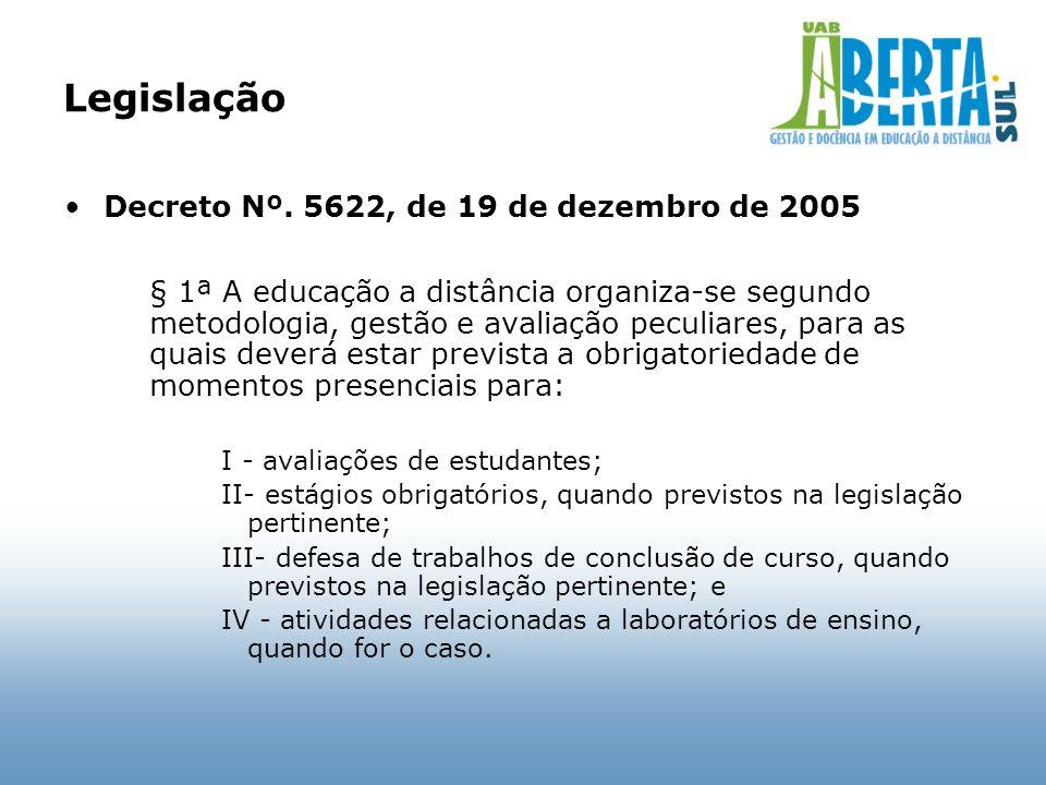 Legislação Decreto Nº. 5622, de 19 de dezembro de 2005 § 1ª A educação a distância organiza-se segundo metodologia, gestão e avaliação peculiares, par