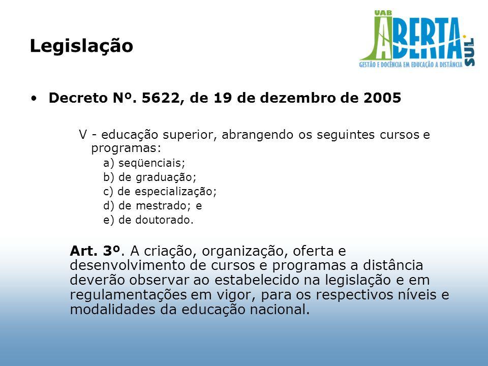 Legislação Decreto Nº. 5622, de 19 de dezembro de 2005 V - educação superior, abrangendo os seguintes cursos e programas: a) seqüenciais; b) de gradua