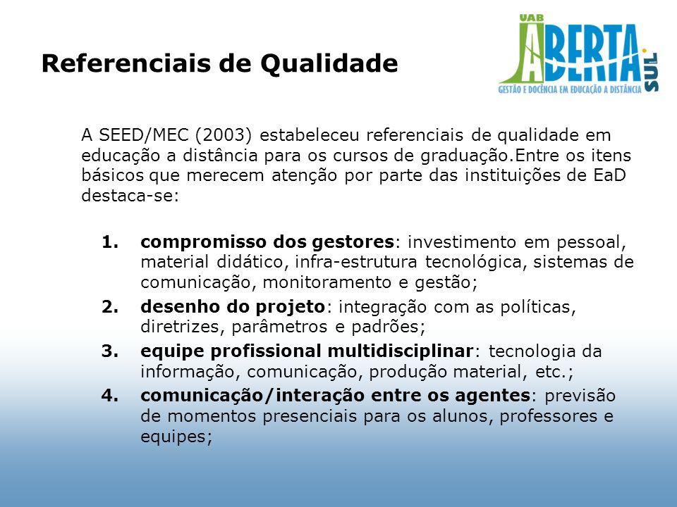 Referenciais de Qualidade A SEED/MEC (2003) estabeleceu referenciais de qualidade em educação a distância para os cursos de graduação.Entre os itens b