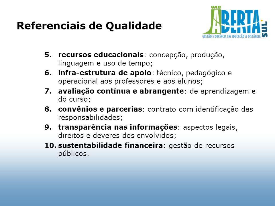 Referenciais de Qualidade 5.recursos educacionais: concepção, produção, linguagem e uso de tempo; 6.infra-estrutura de apoio: técnico, pedagógico e op
