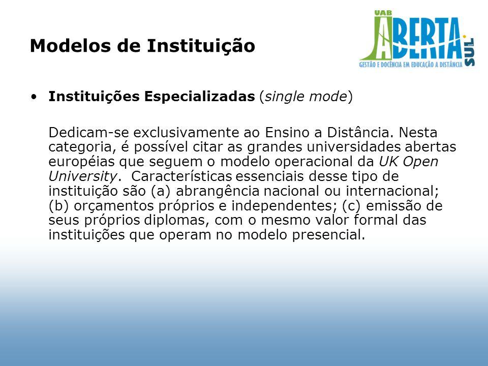 Modelos de Instituição Instituições Especializadas (single mode) Dedicam-se exclusivamente ao Ensino a Distância. Nesta categoria, é possível citar as
