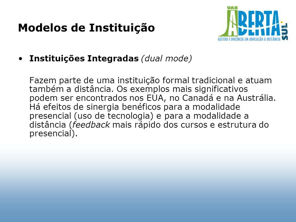 Modelos de Instituição Instituições Integradas (dual mode) Fazem parte de uma instituição formal tradicional e atuam também a distância. Os exemplos m