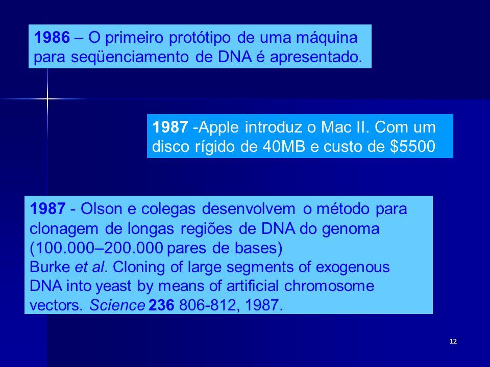 12 1986 – O primeiro protótipo de uma máquina para seqüenciamento de DNA é apresentado. 1987 -Apple introduz o Mac II. Com um disco rígido de 40MB e c