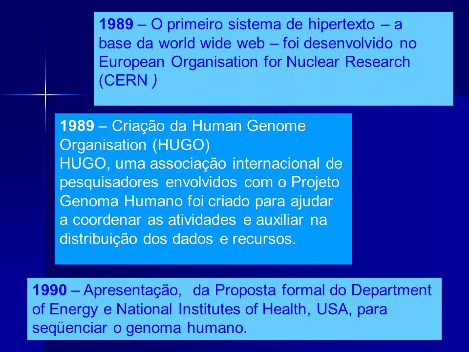 13 1989 – O primeiro sistema de hipertexto – a base da world wide web – foi desenvolvido no European Organisation for Nuclear Research (CERN ) 1989 –