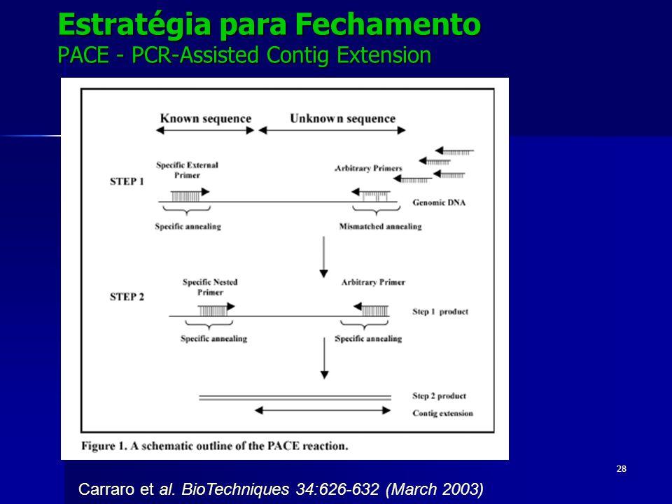 28 Estratégia para Fechamento PACE - PCR-Assisted Contig Extension Carraro et al. BioTechniques 34:626-632 (March 2003)