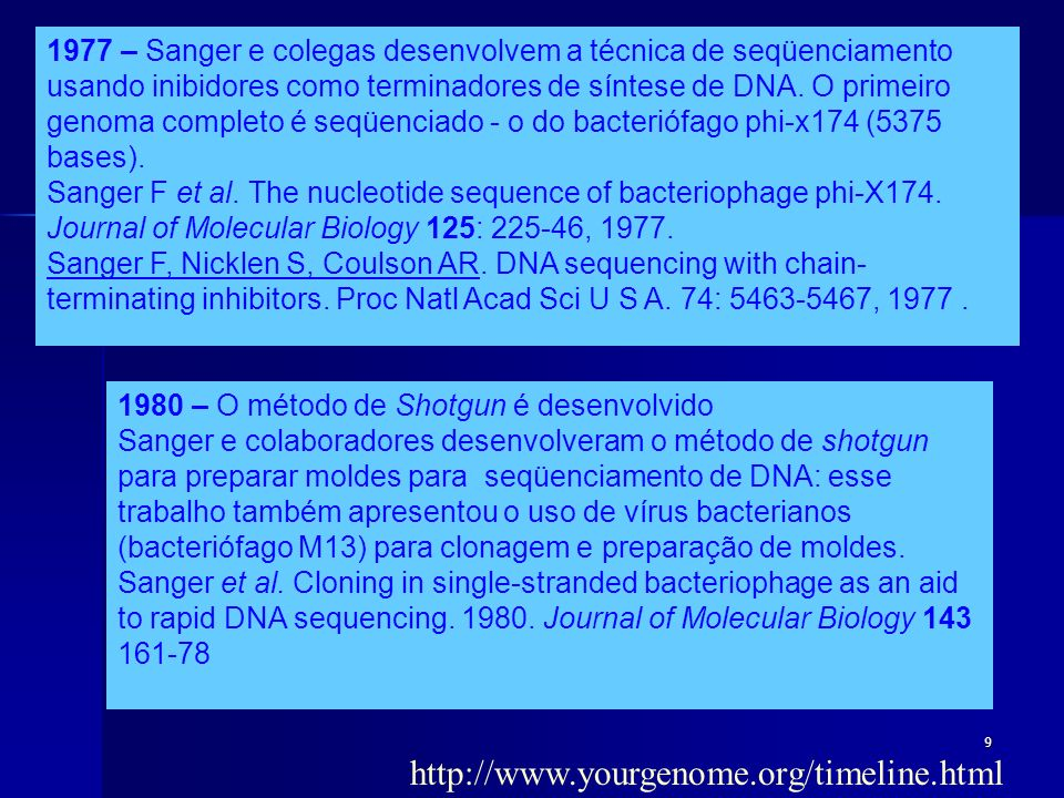 10 Early genome sequencing projects The ability to undertake DNA sequencing on a large scale started a revolution in biology, as it became theoretically possible to determine the complete DNA sequence of any organism, and thus obtain a full description of the complete set of genes, or genome.
