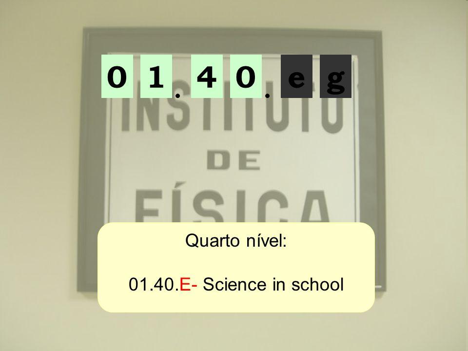 01ge04 Quarto nível: 01.40.E- Science in school