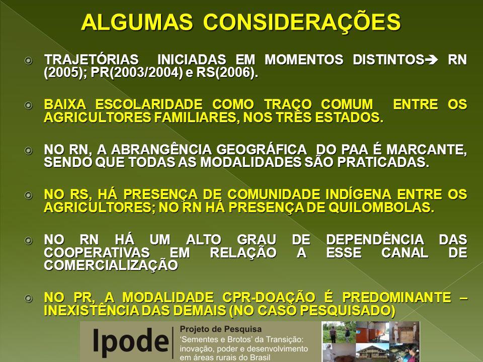 TRAJETÓRIAS INICIADAS EM MOMENTOS DISTINTOS RN (2005); PR(2003/2004) e RS(2006). TRAJETÓRIAS INICIADAS EM MOMENTOS DISTINTOS RN (2005); PR(2003/2004)