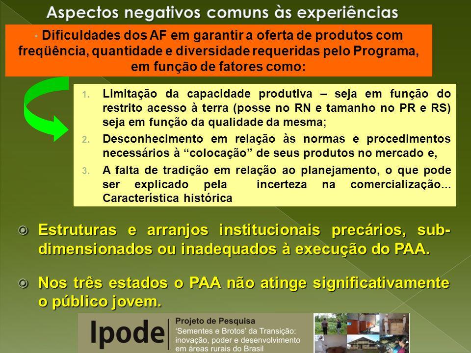 CARACTERÍSTICAS PRESENTES NOS 3 ESTADOS: PLANEJAMENTO DO PROCESSO PRODUTIVO: PLANEJAMENTO DO PROCESSO PRODUTIVO: 1- DIVERSIFICAÇÃO DA PRODUÇÃO (inicialmente para o PAA...) 2- DIMENSIONAMENTO DO VOLUME PRODUZIDO 3- PREOCUPAÇÃO C/ A QUALIDADE (NORMAS TÉCN.) INSERÇÃO NO MERCADO INSERÇÃO NO MERCADO 1- ADAPTAÇÃO A NORMAS BUROCRÁTICAS 2- NOVOS CANAIS DE ACESSO (Agroecologia, entre outros) e MELHORIA DOS JÁ EXISTENTES (Feiras, + poder de barganha na negociação com atravessadores) 3- NOVOS PADRÕES DE VALORAÇÃO DO PRODUTO (Proximidade com o consumidor) O PAA E AS POLÍTICAS DE INOVAÇÃO SÓCIO-TÉCNICAS DOS AGRICULTORES FAMILIARES