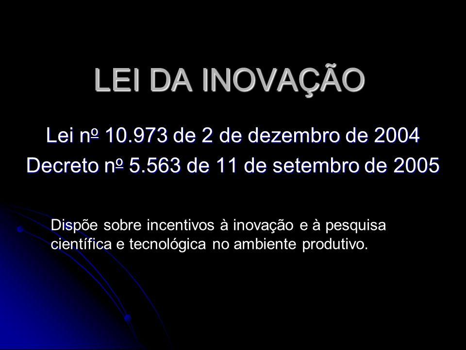 LEI DA INOVAÇÃO Lei n o 10.973 de 2 de dezembro de 2004 Decreto n o 5.563 de 11 de setembro de 2005 Dispõe sobre incentivos à inovação e à pesquisa científica e tecnológica no ambiente produtivo.