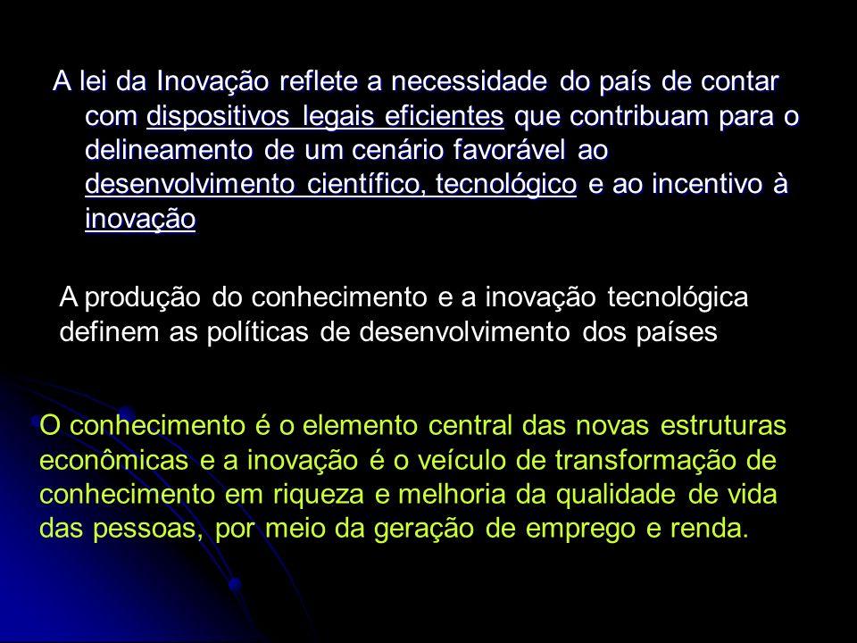 A lei da Inovação reflete a necessidade do país de contar com dispositivos legais eficientes que contribuam para o delineamento de um cenário favoráve