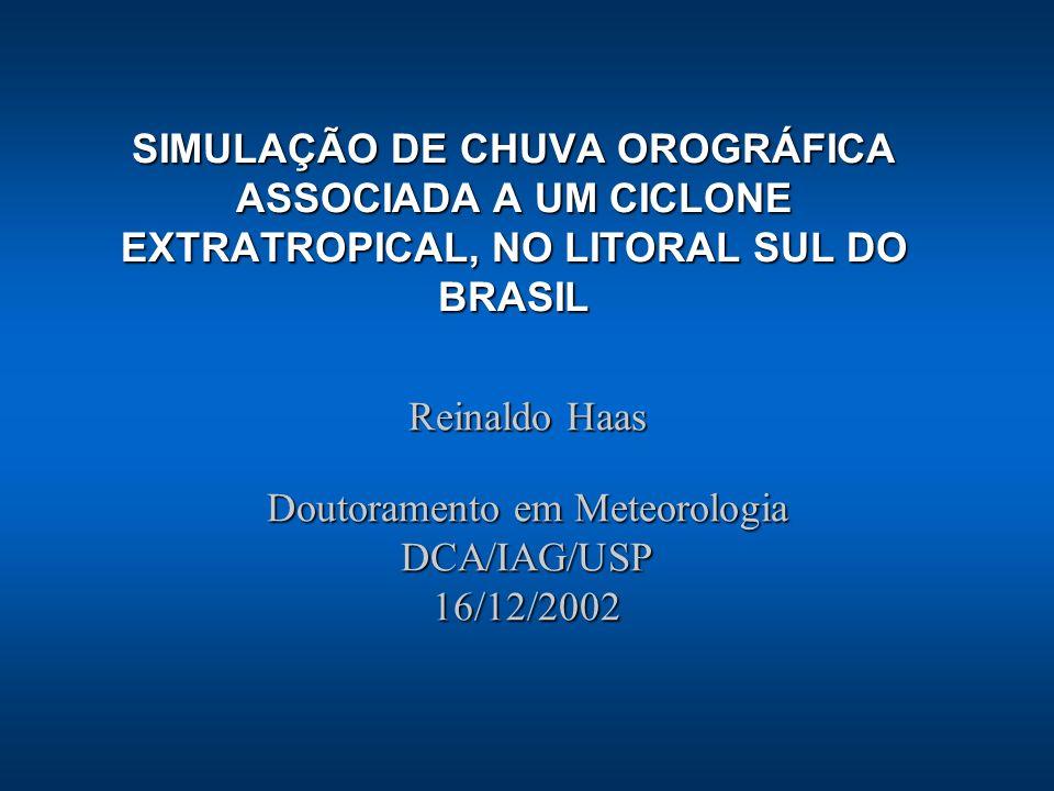 Reinaldo Haas Doutoramento em Meteorologia DCA/IAG/USP 16/12/2002 SIMULAÇÃO DE CHUVA OROGRÁFICA ASSOCIADA A UM CICLONE EXTRATROPICAL, NO LITORAL SUL D