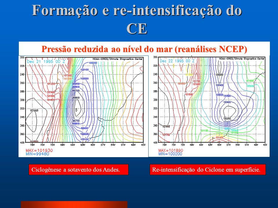 Formação e re-intensificação do CE Ciclogênese a sotavento dos Andes.Re-intensificação do Ciclone em superfície. Pressão reduzida ao nível do mar (rea