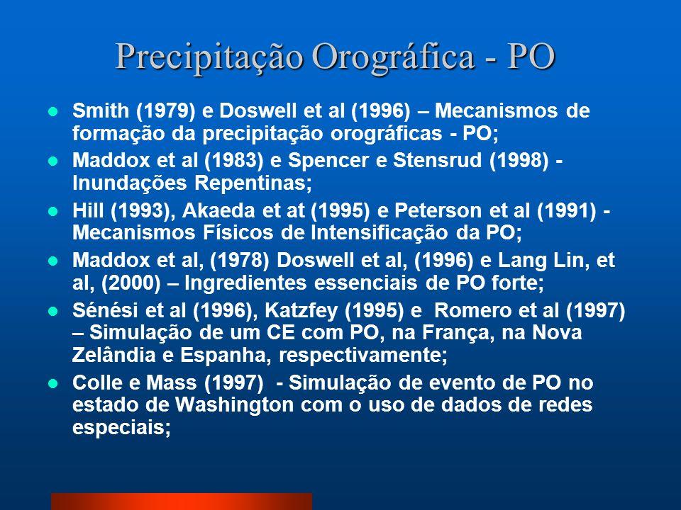 Smith (1979) e Doswell et al (1996) – Mecanismos de formação da precipitação orográficas - PO; Maddox et al (1983) e Spencer e Stensrud (1998) - Inund