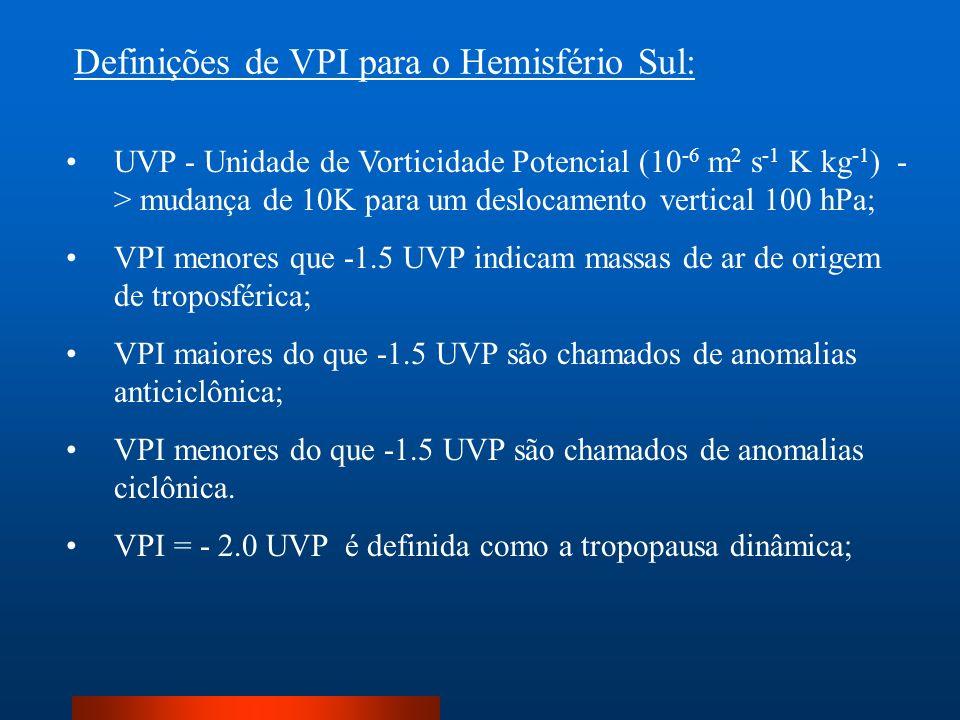 UVP - Unidade de Vorticidade Potencial (10 -6 m 2 s -1 K kg -1 ) - > mudança de 10K para um deslocamento vertical 100 hPa; VPI menores que -1.5 UVP in