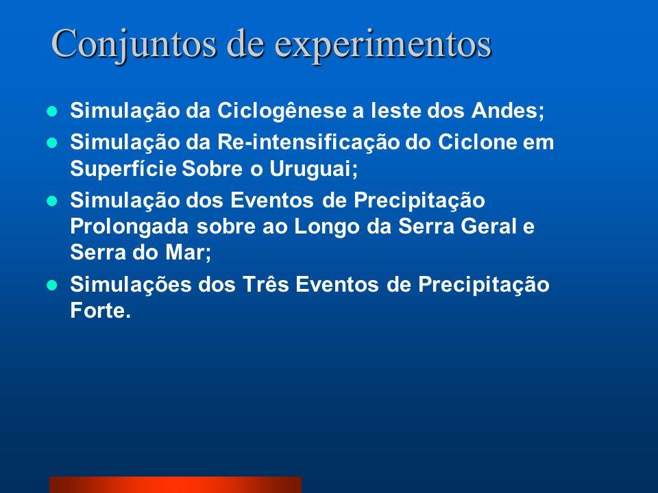 Conjuntos de experimentos Simulação da Ciclogênese a leste dos Andes; Simulação da Re-intensificação do Ciclone em Superfície Sobre o Uruguai; Simulaç