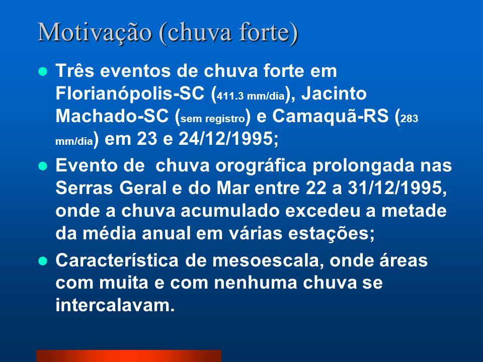 Motivação (chuva forte) Três eventos de chuva forte em Florianópolis-SC ( 411.3 mm/dia ), Jacinto Machado-SC ( sem registro ) e Camaquã-RS ( 283 mm/di