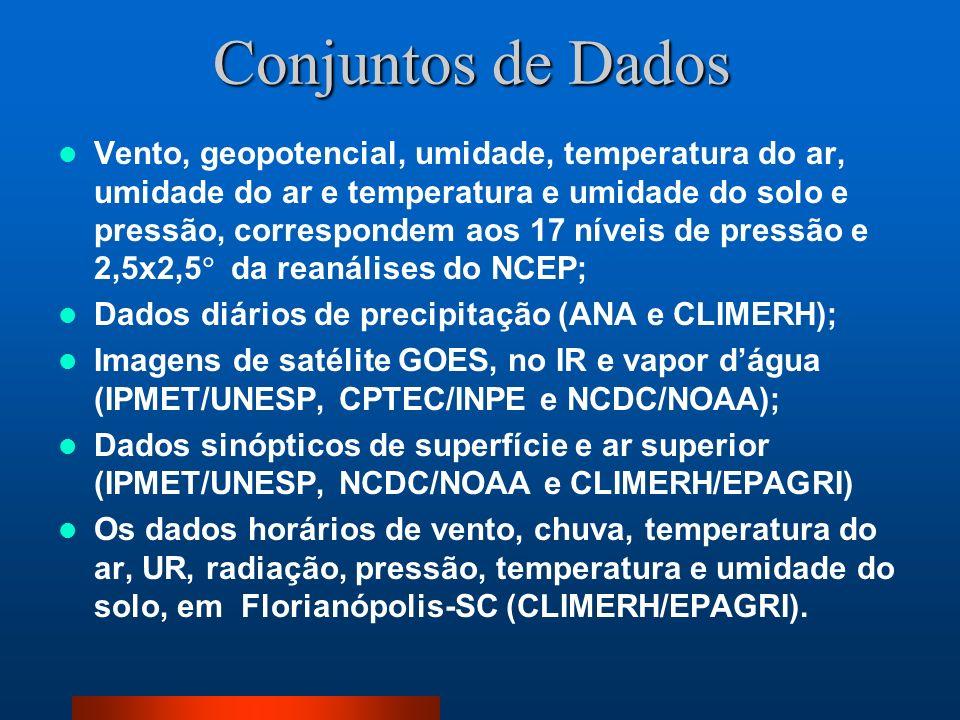 Conjuntos de Dados Vento, geopotencial, umidade, temperatura do ar, umidade do ar e temperatura e umidade do solo e pressão, correspondem aos 17 nívei