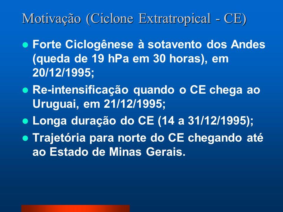 Motivação (Ciclone Extratropical - CE) Forte Ciclogênese à sotavento dos Andes (queda de 19 hPa em 30 horas), em 20/12/1995; Re-intensificação quando