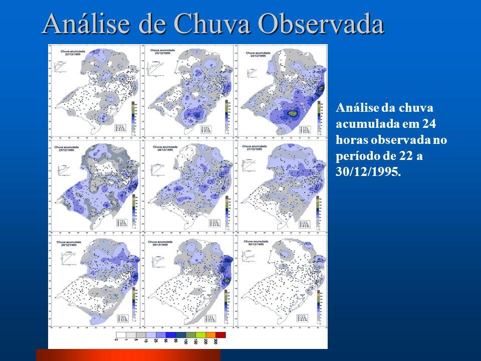 Análise da chuva acumulada em 24 horas observada no período de 22 a 30/12/1995. Análise de Chuva Observada