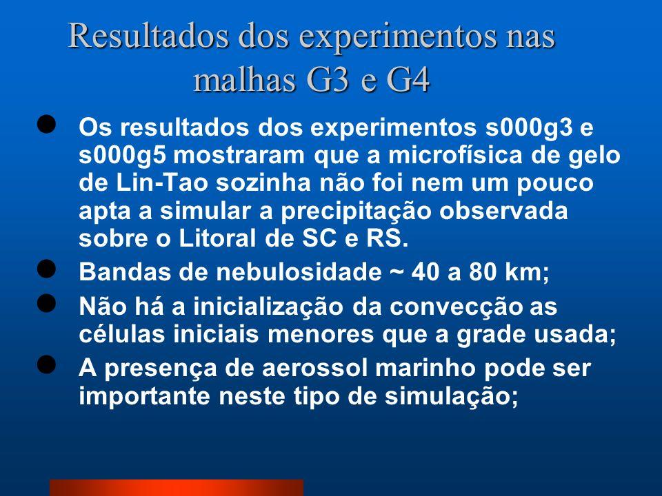 Resultados dos experimentos nas malhas G3 e G4 Os resultados dos experimentos s000g3 e s000g5 mostraram que a microfísica de gelo de Lin-Tao sozinha n
