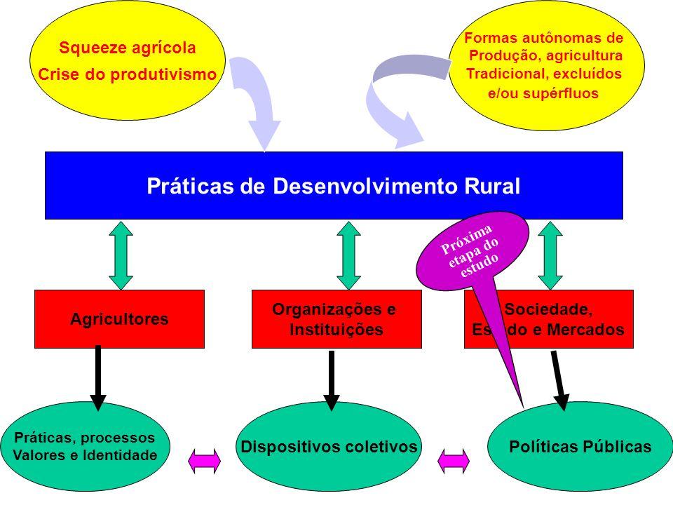 Práticas de Desenvolvimento Rural Agricultores Organizações e Instituições Sociedade, Estado e Mercados Práticas, processos Valores e Identidade Dispo