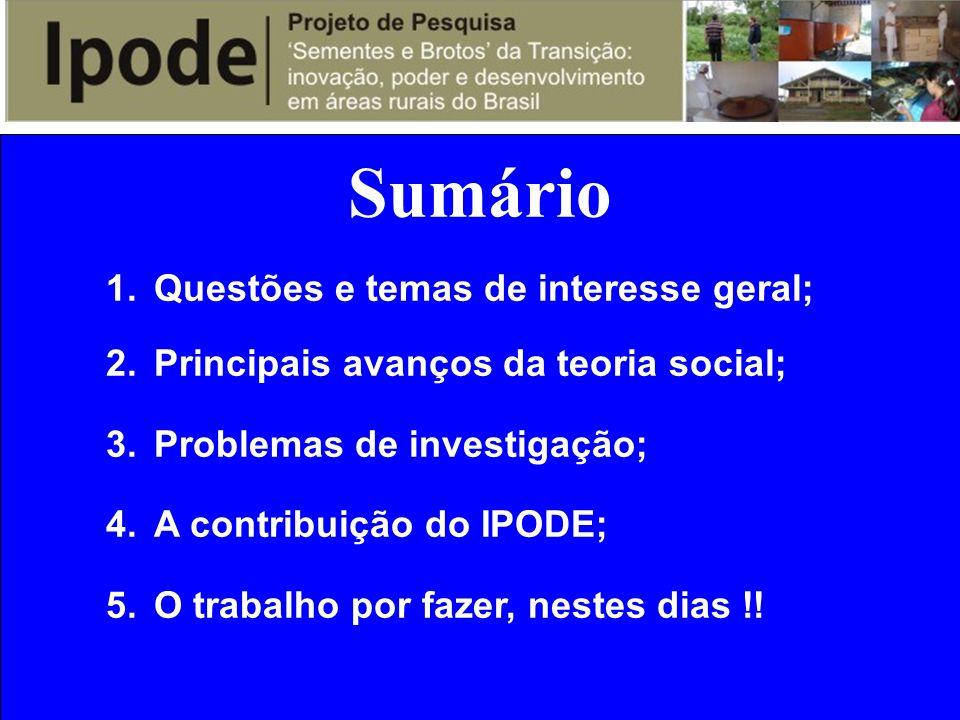 Sumário 1.Questões e temas de interesse geral; 2.Principais avanços da teoria social; 3.Problemas de investigação; 4.A contribuição do IPODE; 5.O trab