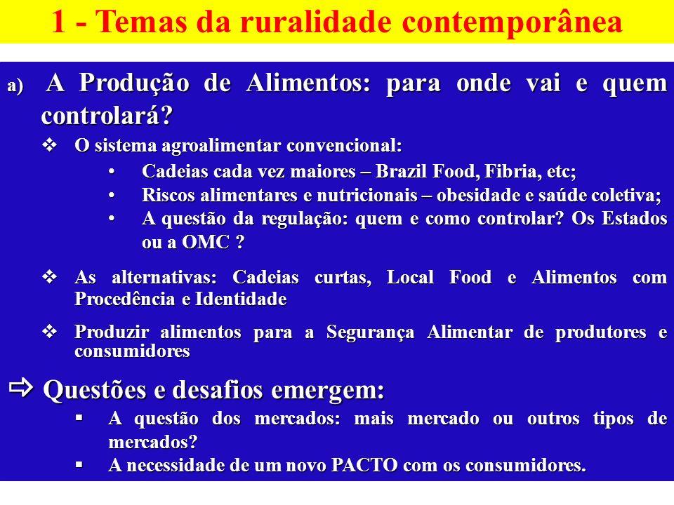 a) A Produção de Alimentos: para onde vai e quem controlará? O sistema agroalimentar convencional: O sistema agroalimentar convencional: Cadeias cada