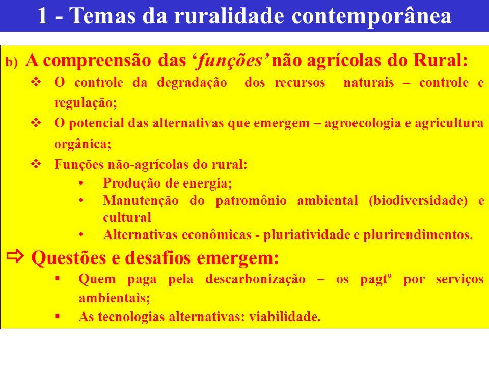 b) A compreensão das funções não agrícolas do Rural: O controle da degradação dos recursos naturais – controle e regulação; O potencial das alternativ