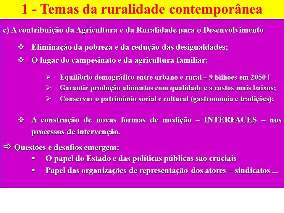 c) A contribuição da Agricultura e da Ruralidade para o Desenvolvimento Eliminação da pobreza e da redução das desigualdades; Eliminação da pobreza e