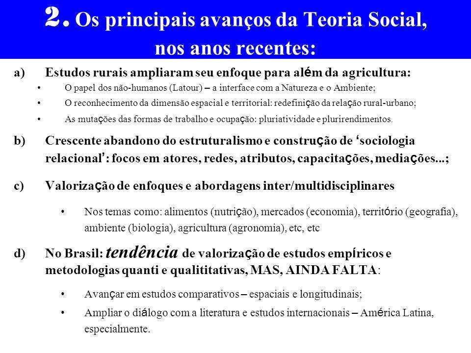 2. Os principais avanços da Teoria Social, nos anos recentes: a)Estudos rurais ampliaram seu enfoque para al é m da agricultura: O papel dos não-human
