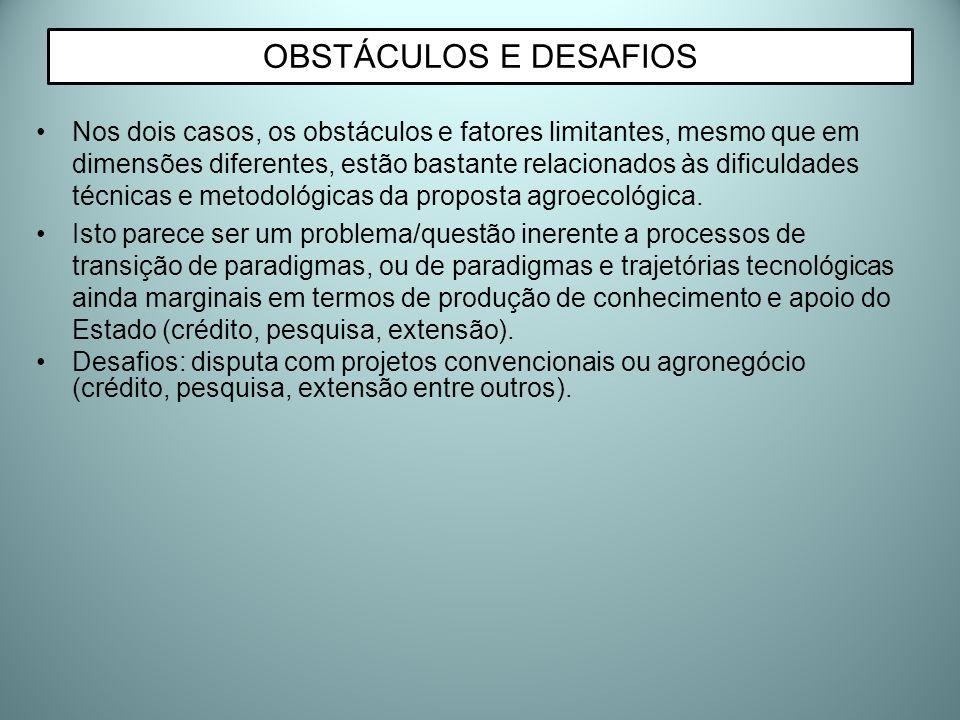 Nos dois casos, os obstáculos e fatores limitantes, mesmo que em dimensões diferentes, estão bastante relacionados às dificuldades técnicas e metodoló