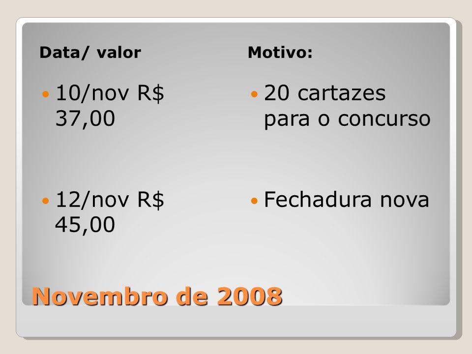Novembro de 2008 Data/ valorMotivo: 10/nov R$ 37,00 12/nov R$ 45,00 20 cartazes para o concurso Fechadura nova