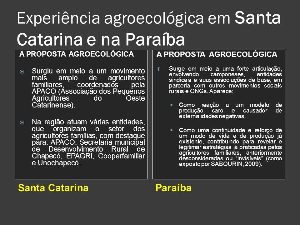 Experiência agroecológica em Santa Catarina e na Paraíba Santa CatarinaParaíba A PROPOSTA AGROECOLÓGICA Surgiu em meio a um movimento mais amplo de ag