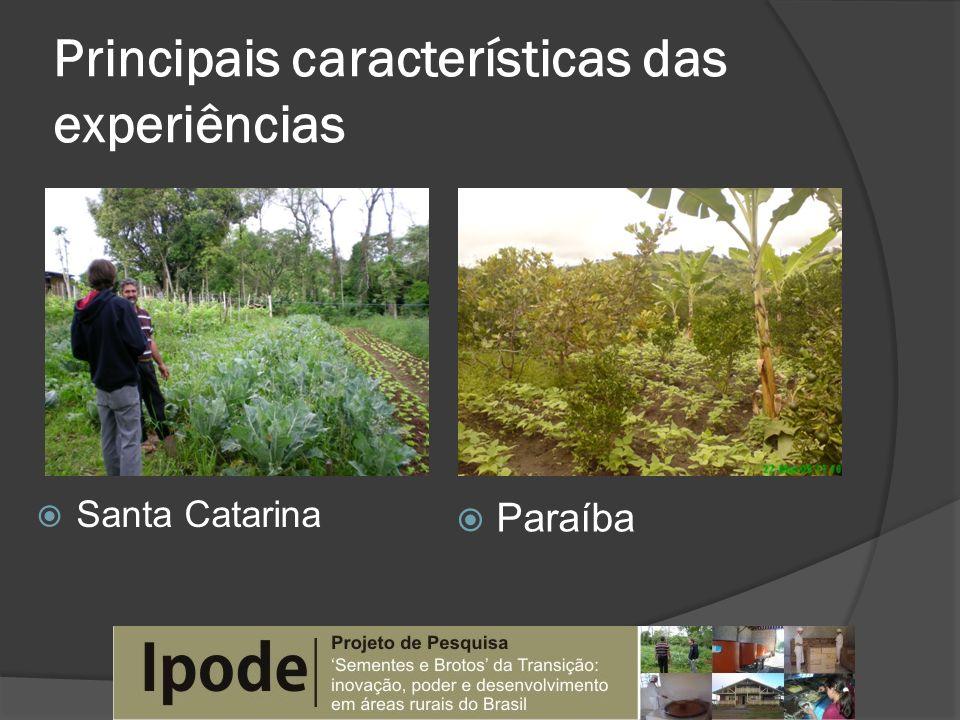 Principais características das experiências Santa Catarina Paraíba