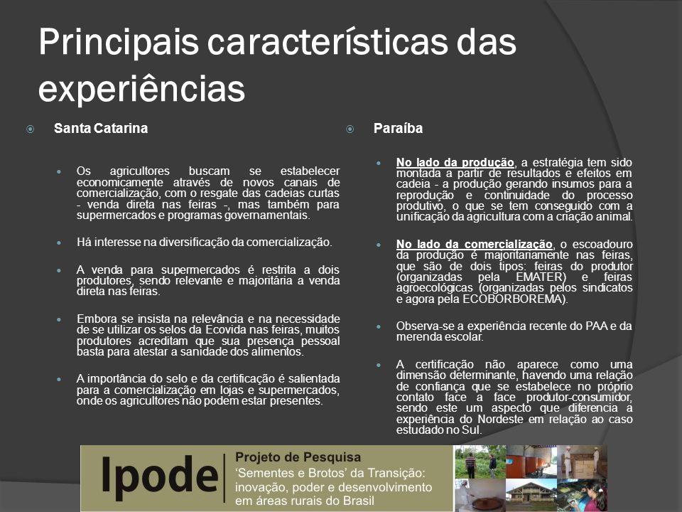 Principais características das experiências Santa Catarina Os agricultores buscam se estabelecer economicamente através de novos canais de comercializ