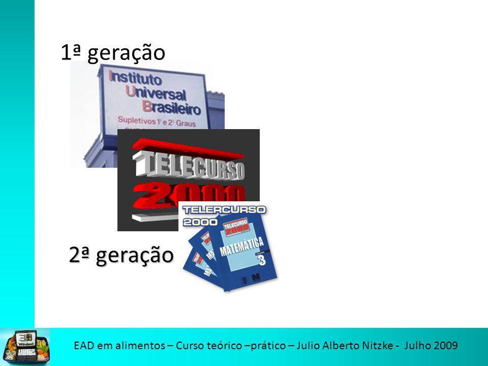 EAD em alimentos – Curso teórico –prático – Julio Alberto Nitzke - Julho 2009 1ª geração 2ª geração
