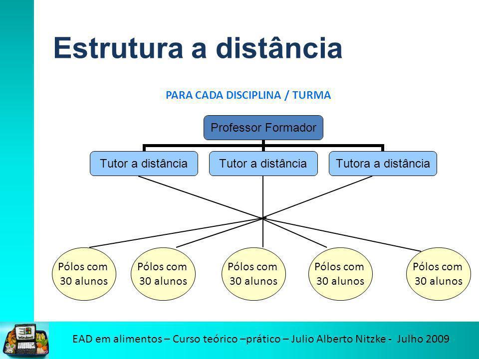 EAD em alimentos – Curso teórico –prático – Julio Alberto Nitzke - Julho 2009 Estrutura a distância Professor Formador Tutor a distância Tutora a dist