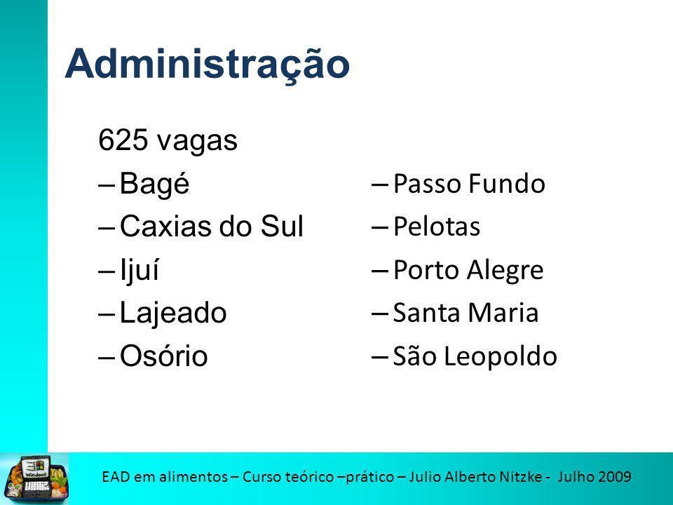 Administração 625 vagas –Bagé –Caxias do Sul –Ijuí –Lajeado –Osório – Passo Fundo – Pelotas – Porto Alegre – Santa Maria – São Leopoldo
