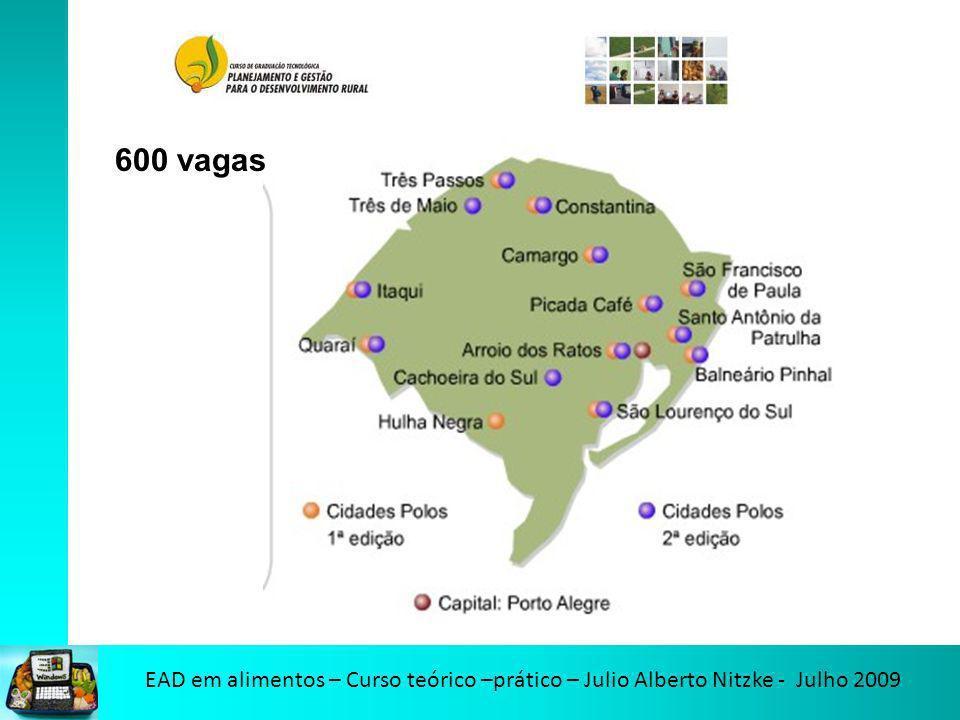 EAD em alimentos – Curso teórico –prático – Julio Alberto Nitzke - Julho 2009 600 vagas