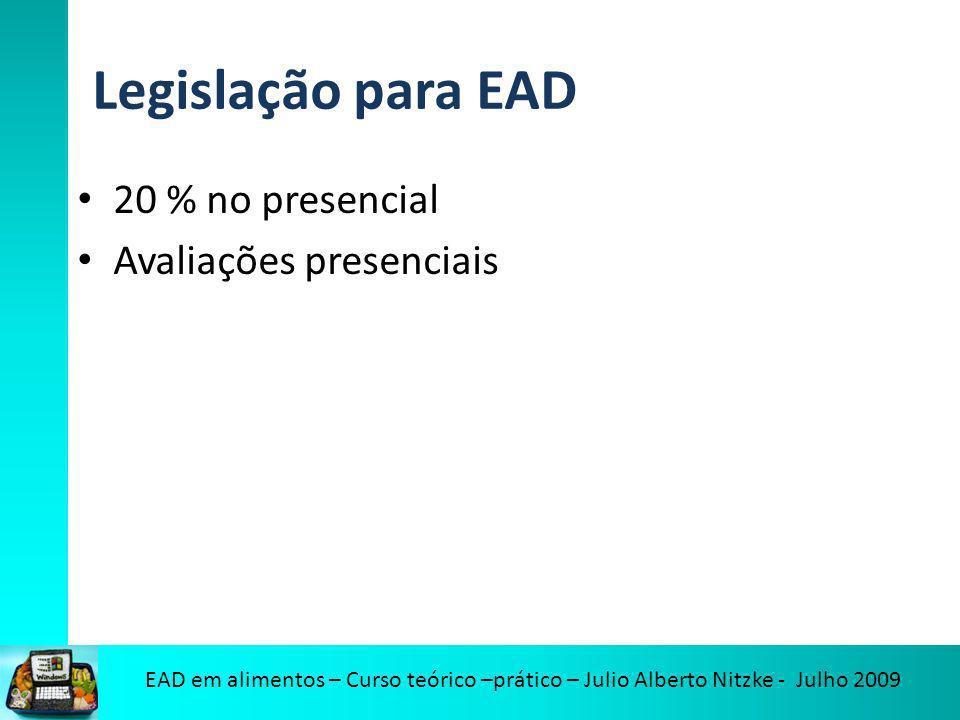 EAD em alimentos – Curso teórico –prático – Julio Alberto Nitzke - Julho 2009 Legislação para EAD 20 % no presencial Avaliações presenciais